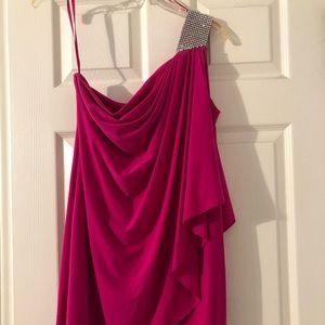 CACHE Pink One Shoulder Rhinestone Dress